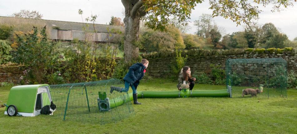 Två barn är utomhus och leker med två kaniner i en Zippi-tunnel som kopplats samman med kaninburen Eglu Go